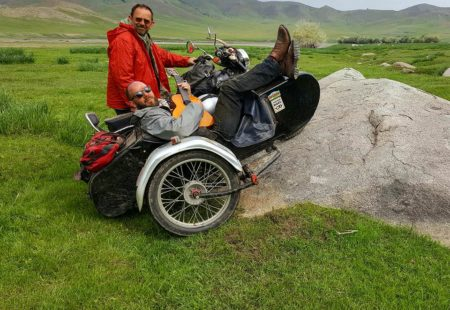 """<h3>A guitarist on the roof of the world</h3>  The Burdets and Vintage Rides forged a friendship over the years at various fairs and then by organising event trips. In 2014, it was Jean's turn to have a rather crazy dream: he wanted to travel with his son to the roof of the world, Ladakh, by sidecar. Christened the Dzo, Jean designed a Royal Enfield sidecar fit for adventure. Gene met the Vintage Rides office team, mechanics and saw the garage when he arrived in Delhi. """"That was my very first trip to India. It was more of an expedition than your average classic motorcycle tour. We partly organised it to celebrate my 30th and my dad's 50th, so that we could ride together again after so many years,"""" he recalls. They were the first people to ride the world's highest motorable pass, from the Manali-Leh road to Khardung-La, with this type of bike."""