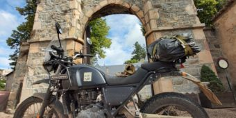 royal enfield with castle in france