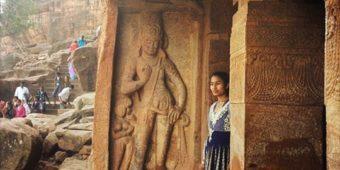 badami cave carved gods art religious