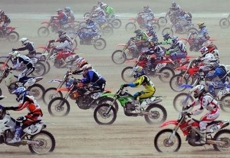 <h2>Enduropale du Touquet</h2>  Lastly, we'll finish this post with an event that's closer to home and a hit among French bikers: Le Touquet. In 2006, Le Touquet was renamed Enduropale and the route was adapted to help preserve the environment. However, some things have yet to change. A legendary race, this rally allows complete amateurs to rub shoulders with big names in the world of enduro. What's more, it was the original inspiration for the Paris-Dakar Rally in 1979, which is hardly surprising, bearing in mind that both of the raids were founded and organised by the same guy: Thierry Sabine. Since it started in 1975, the Enduropale du Touquet race has managed to make an international name for itself. Today, it is the largest enduro race in Europe and the longest sand race in the world.