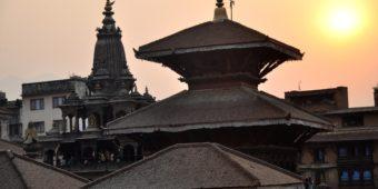temple sunset nepal