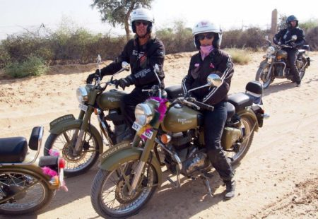 """<strong>What's your biking story?</strong> I bought my first moped when I was 16, but my first love was a HONDA 750 Four. I got my motorcycle licence in 1979 and set off for an adventure with some friends from La Rochelle a year later. We went from Paris to Tamanrasset in Algeria. We experienced everything imaginable, as the desert is merciless, especially on a motorcycle that's not cut out for that type of environment: a Kawasaki 750. My insurance company ended up taking me home… <strong>Why did you decide to join Vintage Rides in Rajasthan?</strong> With no more family responsibilities, I thought I'd make the most of being retired! After meeting Vintage Rides at a motorcycle fair in Paris in 2012, I had the urge to do a <a href=""""https://www.vintagerides.travel/"""">Royal Enfield tour</a> really far away. I'm from the hippie generation, and India has always been a dream destination for me. It seems so fascinating. So I treated myself to the Land of the Maharajas tour!"""