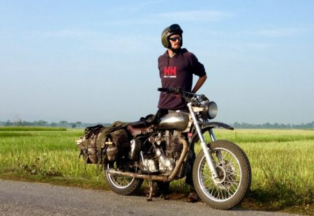 """<h3>Madras Beauty</h3>If you don't brutalize it, this motorcycle takes you to the other side of the world! With his cooperative mono-cylinder, François found his perfect match, a complete harmony with his machine. He enjoys the delight its first kick gives him like the very first day. His customized Machismo 500 that he owns for many years is, according to him, the greatest joy of all Royal Enfields. «With its long-stroke engine and lightweight crankshaft, it is always readily available, a pure pleasure». Naturally the bike becomes a way of life, at work, on holidays, in New Zealand or more recently in Vietnam. Back in his European days he used to ride a Kawa 650 supermot, but has quickly forgotten his desires of a Japanese companion. «No need for this kind of motorcycle in Asian countries, everything happens at another pace, Royal Enfield is made to take your time. Soft, characterful, constant, it raises desire to travel the long course.» He tells us that a roadtrip from Delhi to Ulaanbataar is a something he often thinks about. For now, the next motorcycle adventure begins in Thailand, Chiang Mai, for a first season in the heart of the Golden Triangle.News: François will guide all of our <a href=""""http://www.vintagerides.travel/motorcycle-tour/mongolia/"""">Thailand motorcycle tours</a> of the 2016/2017 season. Contact Denise – denise@vintagerides.com - for more information."""